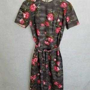Women's 1950s Gray w/Pink Roses Dress
